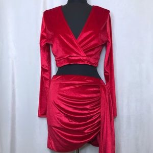 PLT red velour/velvet two piece skirt/crop top set